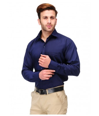 Koolpals Men Formal Rich Cotton Blend Shirt Navy Blue Solid