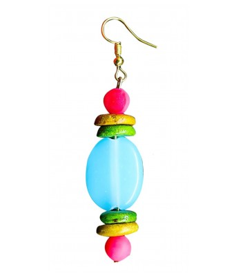 Art By Sargam Handicrafts Turquoise Blue Earrings with Green wooden button For Women And Girls