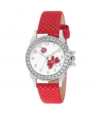 Red Butterfly Leather look Gift Girls and Women Watch