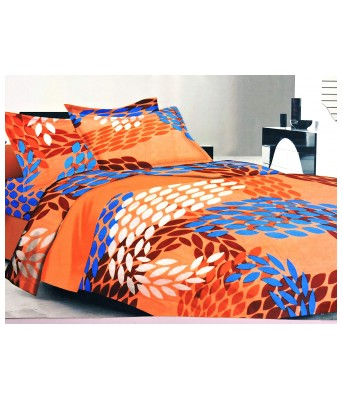 Paras Traders Presents Excellent Fine Quality 244 TC 100% Fine Cotton Bedsheet/Orange Printed Having Nice Shade/with 2 Pillow Cover