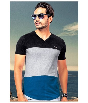 Ansh Fashion Wear Stylish V Neck Striped Half Sleeves Blue & Grey Color T-Shirt for Mens & Boys