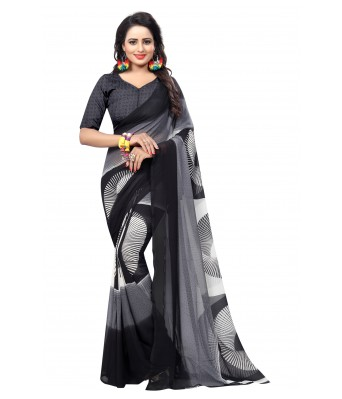 Ethnikaaz Black Georgette Saree-Mily-Black