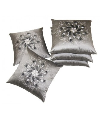 Tempting Embroidered Grey Cushion covers Set Of 5 (40X40 cms)