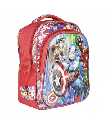 Caterfly Fabric Red and Blue 25 Ltrs Kids Adjustable Strap School Shoulder Backpack Bag