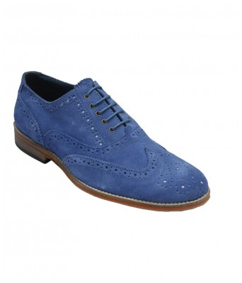 BXXY Genuine Suede Leather Blue Brouge Casual Shoes