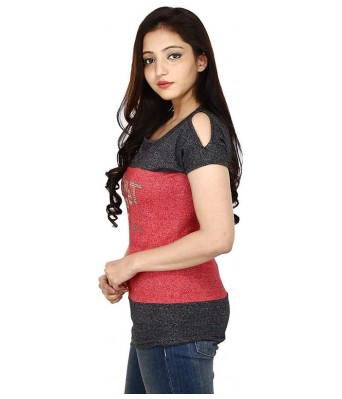 Romile Fashion Half sleeve cold shoulder Multicolor Top for Womens & Girls