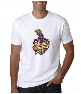 iLyk Mens IPL KKR logo Printed White Cotton T-Shirt