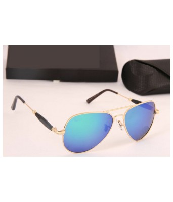 Gold and dark blue aviator style sunglasses for women