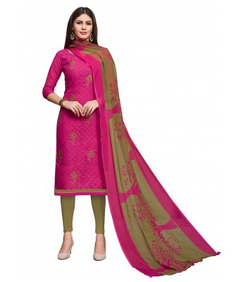Pink Party Cotton Jacquard Unstitched Dress Material With Dupatta