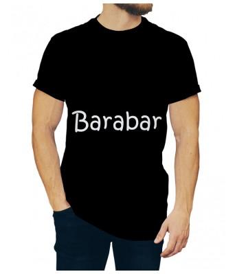 Barabar iLyk Printed Cotton Black Color Round Neck T-shirt for Mens & Boys