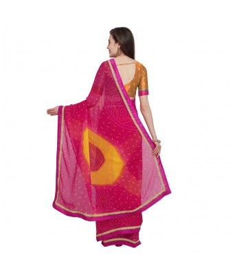 Triveni Pink Yellow Georgette Causal Wear Lace Saree