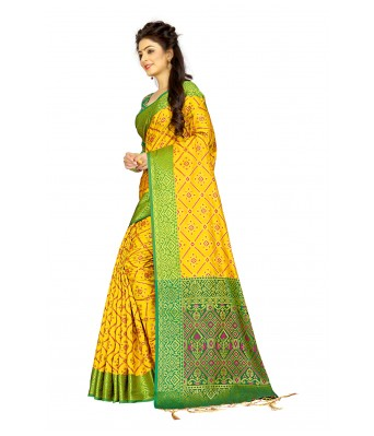Yellow Silk Blend Designer Party Wear Saree With Unstitched Blouse