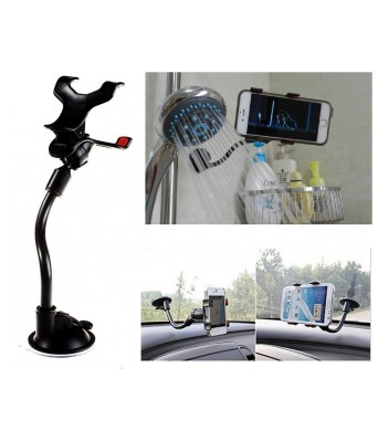 Sasta Bazar Soft Tube Mobile Holder with Multi-Angle 360 Degree Rotating Clip Double Duck (Black)