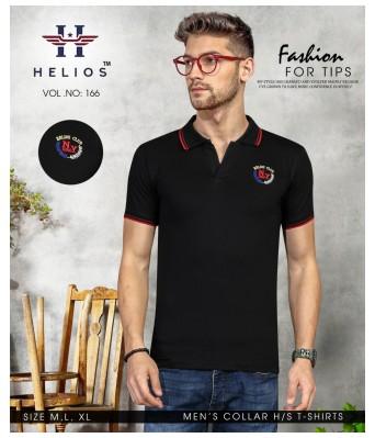 Ansh Fashion Wear Stylish Collar Half Sleeves Black Color T-Shirt for Mens & Boys