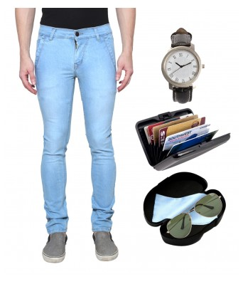 Ansh Fashion Wear Mens Strechable Regular Wear Jeans With Free Pack Of 3 Accessories Watch Sunglass & Cardholder