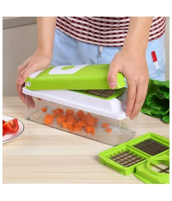 JINPRI Plastic Rust-Free Stainless Steel 12 Blades Vegetable Cutter with Chopper