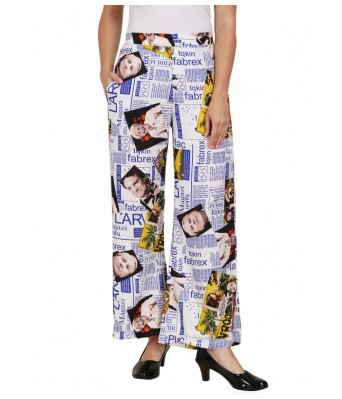 Shanvi White Blue News Printed Womens plazzo