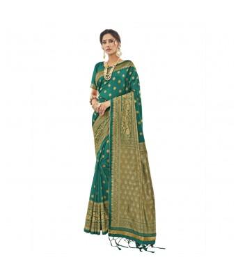 Shakunt Rama Green Jacquard Silk Party Wear Woven Saree