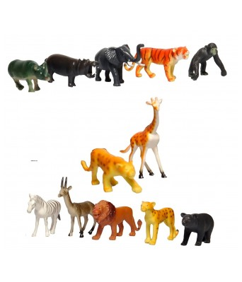 12 pcs Plastic Wild Animals Simulation Models Collection Toys for Children