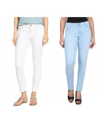 Ansh Fashion Wear Womens Denim Jeans - Contemporary Regular Fit Denims for Women - Mid Rise Ankle Length Jeans - White & Blue