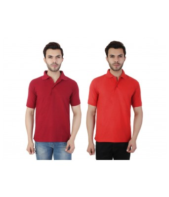 Ansh Fashion Wear  Cotton Blend Pack Of 2 Polo T-shirt