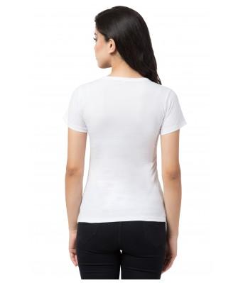 Heart Beat White Printed Half T-Shirt for Women's
