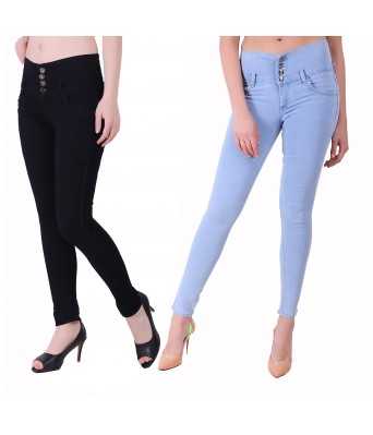 Ansh Fashion Wear  Womens Regular Fit Denim Strechable Round Pocket Four Button Black and Light Blue Jeans Pack of 2