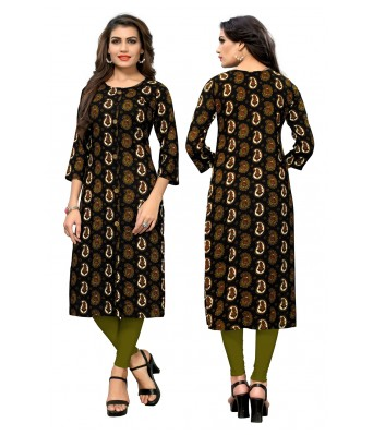 Black Plain & Embroidered Rayon Full Stitched Kurtis - RK Fashions