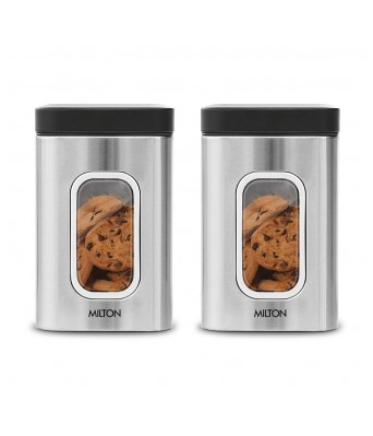 Milton Steel Clear Square Storage Jar, Set of 2, 1500 ml