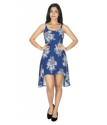 StarShop20 Blue Floral Print A-line Fit and Flare High Low Dresses