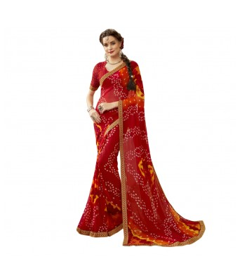 Triveni Red Georgette Casual Wear Lace Border Saree