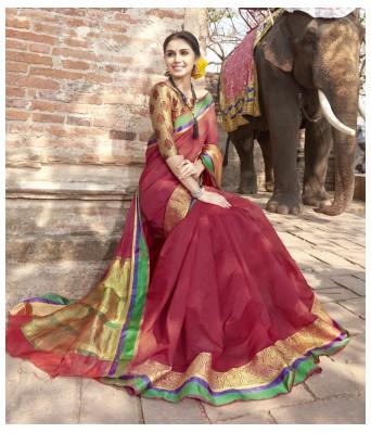 Triveni Art Silk Maroon Saree