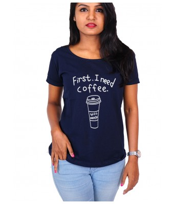 iLyk first i need a coffee. Printed Navyblue Cotton T-Shirt