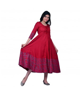 V Brown Womens Rayon Flarred Anarkali Red Color Block Print Angrakha Kurti