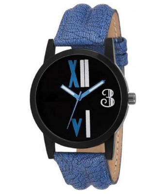 HRV Collection Blue Leather Roman Analog Watch For Men