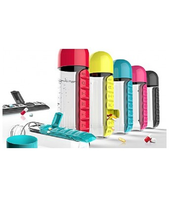 KB Pill Box Organizer With Water Bottle COLOR MAY VARY