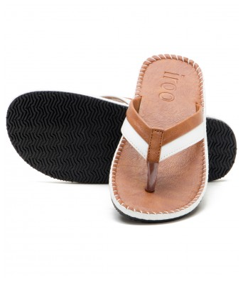 Iroo Tan Solid Patent Leather Slippers