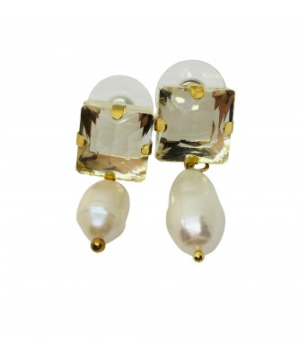 The Square One by Aditi Gautam Hamide Pearl and Diamond Earrings for Women & Girls