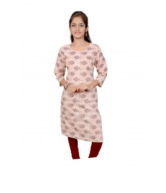 V Brown Red Brown Color Designer  Womens Cotton Straight Printed 3/4 Sleeve Womens Kurti