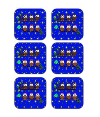 meSleep Owls Wooden Coaster-Set of 6