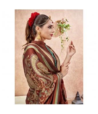 Vallabhi Brown Color Chiffon Casual Wear Printed Saree