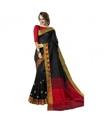Triveni Black Art Silk Festival Wear Woven Saree