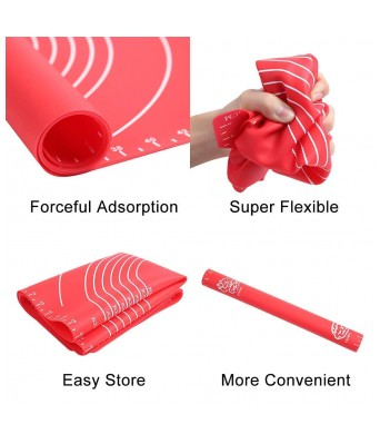 JINPRI Silicone Baking Sheet or Fondant Rolling Mat  Stretchable  48x38cm  Multicolour