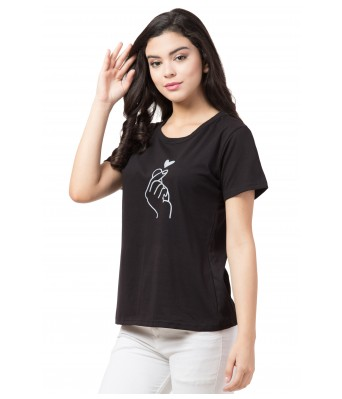 Heart and Hand Black T Shirt for Women