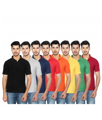 Ansh Fashion Wear Mens Cotton Blend Polo T-Shirt Pack of 8