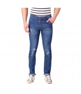 Rock Hudson Mens Regular Fit Denim Strechable Cross Pocket Mild Distress Light Faded Dark Blue Jeans