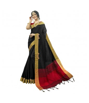 Triveni Black Cotton Silk Festival Wear Woven With Blouses  Sarees