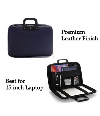 """Deal Bugs Stylish  Unisex Hard Shell Briefcase Laptop Bag 15"""" with Strap, Blue"""