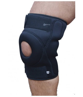 Asfit Knee Cap Wraps open patella-Set of 2 Knee Support (Free Size, Black)