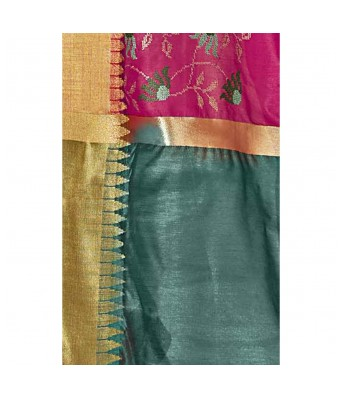 Shakunt Weaves Magenta Color Art Silk Party Wear Embroidered Saree